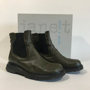 Janet & Janet Olive Green Chunky Heel Chelsea Boot